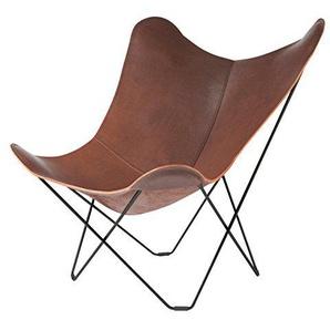 Cuero Pampa Mariposa Butterfly Chair Sessel, dunkelbraun Chocolate 67 BxHxT 87x92x86cm Gestell schwarz