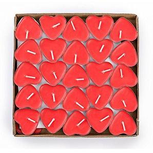 Chakil 50 Stück Liebeskerzen Herzform Kerze rauchfrei Teelichter romantische Kerzen für Hochzeit oder Jahrestag