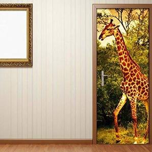 Türaufkleber Afrika Giraffe Natur Tiere Baum Tür Bild Türposter Türfolie Druck Folie Aufkleber 15A2305, Türgrösse:80cmx200cm
