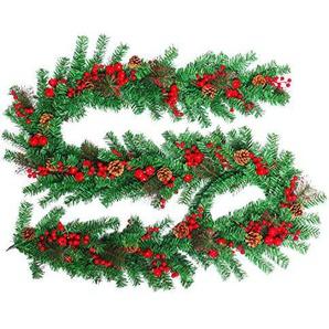 FROADP Weihnachtskranz Türkranz mit Künstliche Roten Beeren Tannenzapfen und Apfel für drinnen und draußen zum Aufhängen an Türen Wänden & Treppen Hochzeitsdekoration(300cm, Type C)