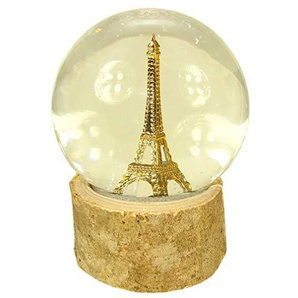 Souvenirs of France Schneekugel aus Glas, Eiffelturm, Beige