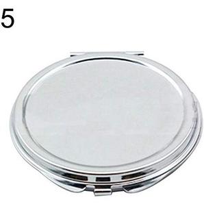 Bmstjk Kosmetikspiegel, tragbarer Mini-Kosmetikspiegel aus Metall, kleines rundes, zusammenklappbares weibliches Make-up-Werkzeug, Silber