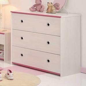 Kinderkommode in Weiß Pink Blau Schubladen