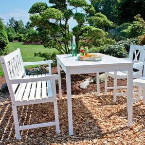 GARDEN PLEASURE Gartentisch »MALMÖ«, Eukalyptusholz, 165x80 cm, weiß