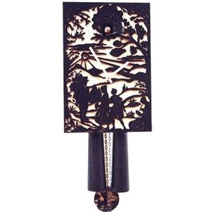 Rombach & Haas Moderne Kuckucksuhr Ornamente Traditionelles Motiv schwarz mit Ornamenten 1-Tagwerk 28 cm
