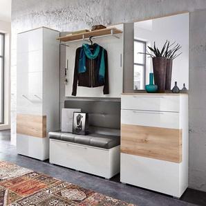 5-tlg. Garderobe in Hochglanz weiß/Absetzg. Buche Nb., Schrank B: 65 cm, Paneel u. Bank B: je 100 cm, Spiegel u. Schuhschrank B: je 65 cm