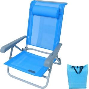 Strandstuhl klappbar mit Liegefunktion, Kopfkissen, saphir blau, Armlehen in grau - MEERWEH