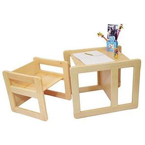 3 in 1 Multifunktionales Kindermöbel Set bestehend aus einem Multifunktionalen Tisch und einem Multifunktionalen Kinderstuhl oder ein Multifunktionales Nest von zwei Couchtischen oder Beistelltischen für Erwachsene, aus massivem Buchenholz Naturlackiert