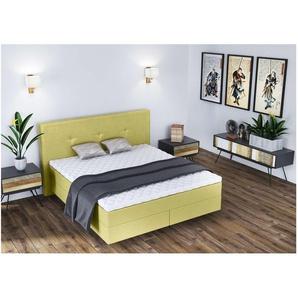 ELESS Nikko Boxspringbett Continentalbett Amerikanisches Bett Doppelbett Ehebett Gästebett Hellgrün 140x210 cm