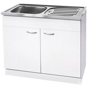 wiho Küchen Spülenschrank »Kiel« 100 cm breit mit Auflagespüle, weiß