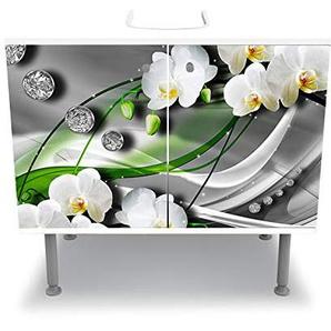 wandmotiv24 Badunterschrank Diamant Lilie grün Designschrank Waschbeckenunterschrank M0533 Frontbeklebung Waschbeckenunterschrank