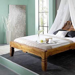 MASSIVMOEBEL24.DE Kolonialstil Bett 120x200 Honig Akazie massiv Holz Oxford #220
