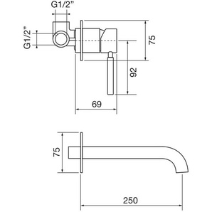 UP-EINHAND-WASCHTISCHMISCHER Porta & Bini FORMA 23116.20 | Chrom - 250 mm - PORTA & BINI RUBINETTERIA