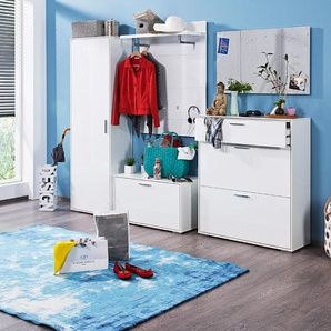 HMW Garderobenschrank, Weiß, Lack / Hochglanz