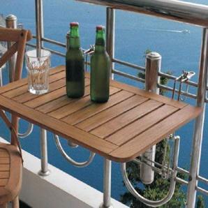 Spetebo Hochwertiger Balkontisch aus Teak Holz - 60x40 cm