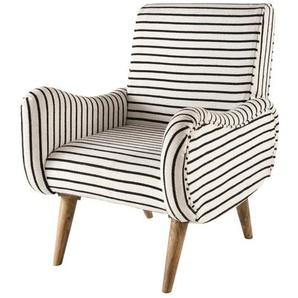 Kelim-Sessel, Bezug ecrufarben mit marineblauen Streifen Jimmy