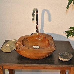 wohnfreuden Teakholz Waschbecken 45cm rund oval ? einzeln fotografierte Unikate aus der Bildergalerie wählbar ? Handwaschbecken Waschschale Holz-Aufsatzwaschbecken für Bad Gäste WC