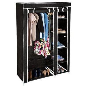 TecTake Kleiderschrank aus Stoff Faltschrank Schrank Textilschrank mit Kleiderstange & 5 Fächern | 107 x 175 x 45 cm - diverse Farben - (Schwarz | Nr. 402530)