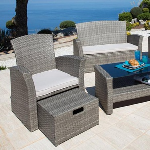 KONIFERA Loungeset »Salerno Premium«, 9-tlg., 2er-Sofa, 2 Sessel, Fußhocker, Tisch, Polyrattan