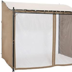 KONIFERA Seitenteile für Anbaupavillon »Bogen«, sandfarben, 3 Stk. Mit Moskitonetz