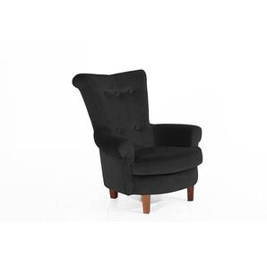 Ohrenbackensessel TILLY-23 Samtvelours Farbe schwarz Sitzhärte mittel B: 86cm T: 90cm H: 99cm