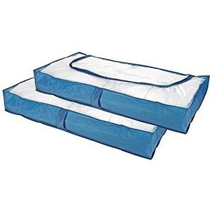 TS Exclusiv Unterbettkommode Verstaubox Aufbewahrungstasche für Wäsche und Kleider Plastik Blau Transparent 2er Set