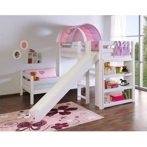 Mädchen Etagenbett mit Rutsche weiß lackiert, Buche massiv 2 Liegeflächen über Eck, mit 1-er Tunnel u. Tasche purple/weiß/herz BENI-13-L