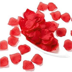 JZK 1000x Seide Rose Konfetti Rosenblätter Rosenblüten Dekoration Tischdeko für Hochzeit Party Valentinstag Heiratsantrag (Rot)