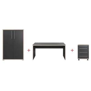 Möbel-Set »Duo« 3-teilig, Schreibtisch mit Wangenfuß grau, Germania-Werke