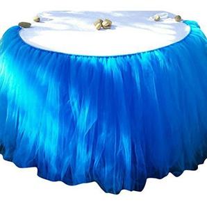 Ketamyy Hochzeits Dekoration Tutu Tischrock Festival Geburtstag Banquet Party Gaze Tabelle Rock Mit Klettverschluss Blau 100cm*80cm