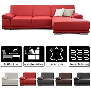 CAVADORE Ecksofa Corianne mit Bettfunktion /  Couch L-Form im modernen Design / Inkl. beidseitiger Armteilverstellung, Longchair rechts und Bett / 282 x 80 x 162  / Kunstleder rot