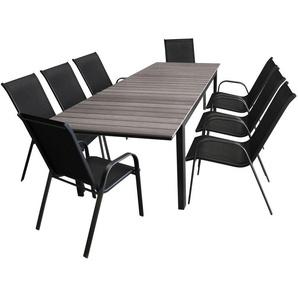 9tlg. Gartengarnitur Ausziehtisch, Aluminiumrahmen, Polywood Tischplatte grau, 160/210/260x95cm + 8x Stapelstuhl, Textilenbespannung / Set - MULTISTORE 2002