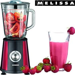 Melissa 16180113 Mini Standmixer,350 Watt,1 Liter Füllmenge,Glaskanne,2 Geschwindigkeiten, rot metallic Edelstahl Design