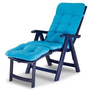 Gartenliege / Deckchair Florida Best Kunststoff blau mit Auflage D1360 - BEST FREIZEITMÖBEL