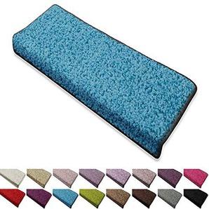 casa pura Shaggy Stufenmatten Barcelona Schutz für Treppenstufen | weicher Hochflor | GUT-Siegel und Blauer Engel | rechteckig | Einzeln oder als Set | viele Farben | 15er Set | Hellblau