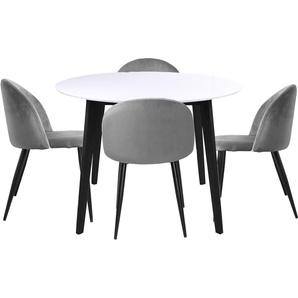 Essgruppe | Esstisch Rundt Weiß mit 4 Stühlen Grau- Björk & Alice
