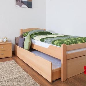 Einzelbett / Gästebett Easy Premium Line K1/2h inkl. 2. Liegeplatz und 2 Abdeckblenden, 90 x 200 cm Buche Vollholz massiv Natur