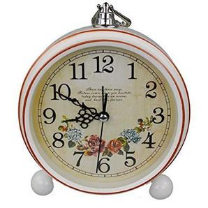 GMMH Tischuhr Nostalgie Antik Vintage Retro Metall Standuhr Dekowecker Uhr Wecker Design (Weiß 27-3)