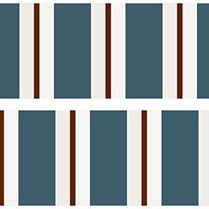 Kleisterbordüre Vintage Style, 4-teilig 520x15cm, Tapetenbordüre, Wandbordüre, Borte, Wanddeko,braun, blau