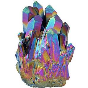 mookaitedecor Titanium Coated Natürlichen Bergkristall Rohstück Geode Dekorative Stein Naturstück Edelstein Dekoration Probe
