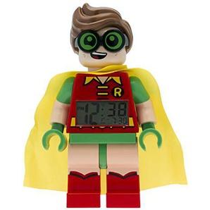 LEGO Batman Movie 9009358 Robin Kinder-Wecker mit Minifigur | rot/grün | Kunststoff | 24 cm hoch | LCD-Display | Junge/ Mädchen | offiziell