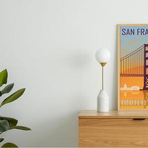 San Francisco Vintage Travel, gerahmter Kunstdruck (A1), Blau und Orange