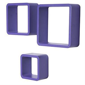 WOLTU RG9282la Wandregal Cube CD Regal 3er Set Hängeregal Würfel, lila