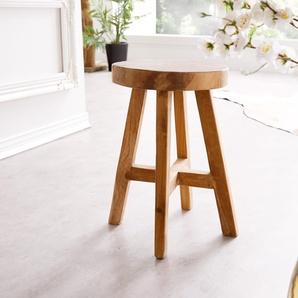 Sitzhocker Adela 30x30 cm Teakholz Natur rund Massivholz, Sitzhocker / Sitzwürfel
