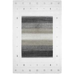 Handgefertigter Teppich Grand Lake in Weiß/Grau
