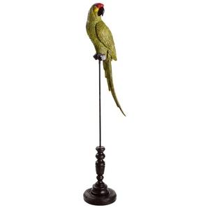 Grüner Papagei mit schwarzem Metallfuß