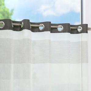 Scheibengardine von LYSEL® Streifen (Bx H) 100cm * 65cm grau/silver