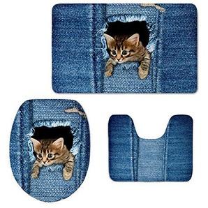 coloranimal blau denim print Bad Teppiche Set süße Katze Hund Muster Badteppich WC-Deckelbezug Modern cat pattern-1