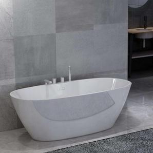 Freistehende Badewanne mit Wasserhahn Weiß Acryl 204 L - VIDAXL