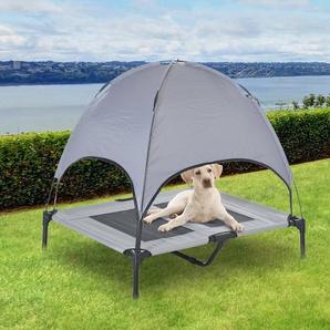 PawHut® Hundebett mit Baldachin Hundeliege Erhöhtes Haustierbett Atmungsaktiv Taftstoff